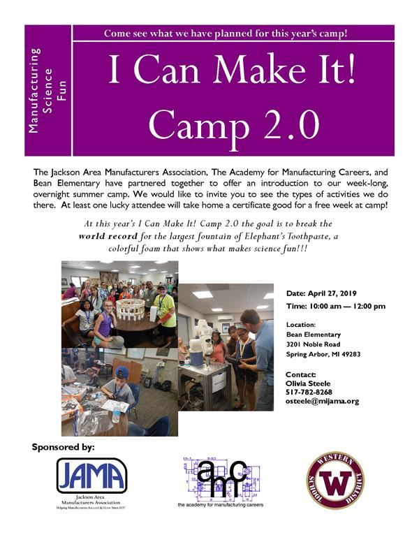 I can make it camp 2.0 flyer