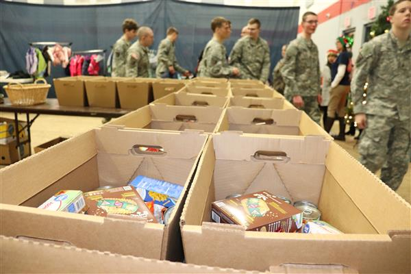 Army JROTC Cadets lend helping hand for massive community holiday boxes distribution