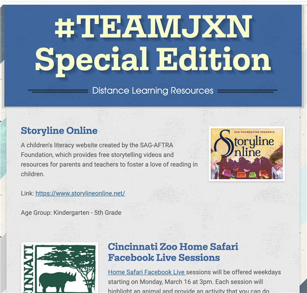 #TeamJXN Special Edition - Distance Learning Resources