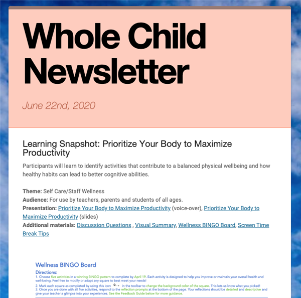 Whole Child Newsletter - 6/24/2020