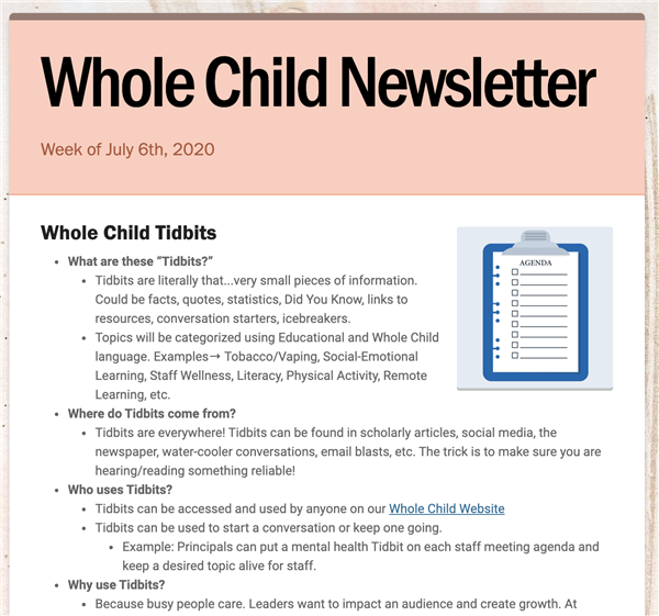 Whole Child Newsletter - 7/6/2020