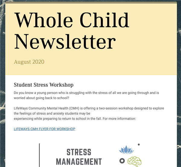 Whole Child Newsletter - August 2020