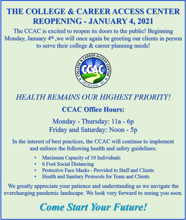 CCAC ReOpen January 2021