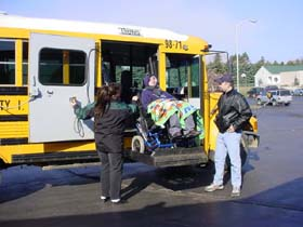 Students unloading from Busses